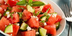 watermelon, cucumber, lime, and chili salad 1 green 1/2 purple 1/2 blue/orange