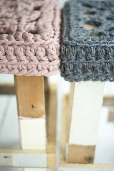 <3 wood & wool (winter) stools in taupe & grey coats by wood & wool stool, via Flickr