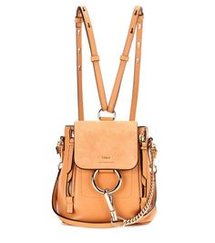 Faye Mini brown leather and suede backpack