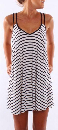 Stripes print thin strap casual summer dress