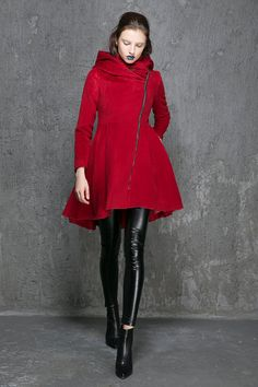 Wine red coat wool coat winter coat womens coats by xiaolizi ...