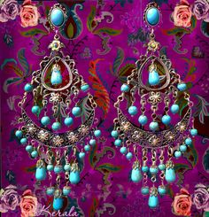 Large Exotic Boho Gypsy Chandelier Earrings in: Turquoise, Black or White by kerala, $54.00