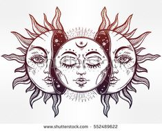 Beautiful Moon and Sun with faces. The sun is broken in half, the moon emerges. Vintage hand drawn eclipse. Vector illustration for coloring book, t-shirt design, tattoo. Ethnic decor, Bohemian art. #bohemian_moon_tattoo