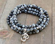 LATE SHIP snowflake obsidian mala necklace stretch wrap bracelet gemstone wrap bracelet yoga energy bracelet meditation beads power beads