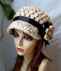 Cold Weather Crochet Womens Hat Newsboy Oatmeal by JadeExpressions
