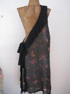 black burnout pink roses one shoulder tunic dress by anniebDesignz, $95.00