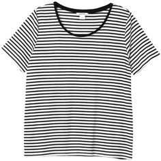Monki Maja top ($11) ❤ liked on Polyvore featuring tops, sleek stripes, white top, stripe top, striped top and monki