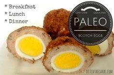 Easy Paleo Scotch Eggs with ZERO carbs. Brilliant for breakfast, lunch, dinner and a snack. These are little powerhouses of nutrition. Make a huge batch and freeze them for lunches. Eggs are the most (Paleo Pork Mince) Banting Recipes, Low Carb Recipes, Real Food Recipes, Healthy Recipes, Healthy Sugar, Egg Recipes, Salad Recipes, Breakfast And Brunch, Paleo Breakfast