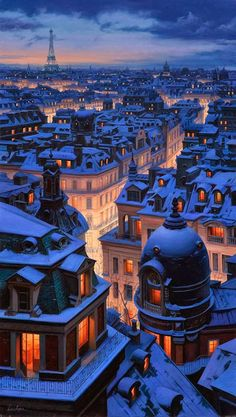Winter in Paris Over The Roofs Of Paris by Eugene Lushpin