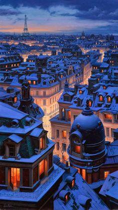 Winter in Paris Over The Roofs Of Paris | by Evgeny Lushpin - É dessas imagens que de tão lindas, chegam até a doer.
