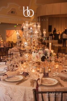 Glamorous crystal centerpiece for a blush wedding with Crown Weddings at the Hotel Del Coronado.  Photo by Barnet Photography
