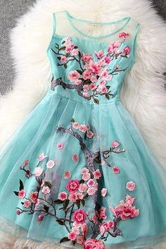 Elegant Floral Embroidered Organza and Lace Fashion Dress in 3 Colors