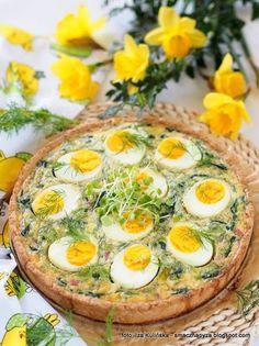 Tarta ze szpinakiem i jajkami Veggie Recipes, Appetizer Recipes, Vegetarian Recipes, Cooking Recipes, Healthy Recipes, My Favorite Food, Favorite Recipes, Appetisers, Easter Recipes