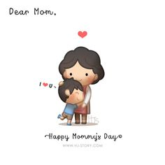 To my mom, and hope all the awesome mums in the world have the loveliest day! This was drawn for mother's day but I'm sure everyday can be mother's day and remember to show them your love and give them a big sweet hug! Cute Love Cartoons, Funny Cartoons, Cute Love Stories, Love Story, Anime Chibi, Sweet Hug, Hj Story, Dear Mom, Love Phrases