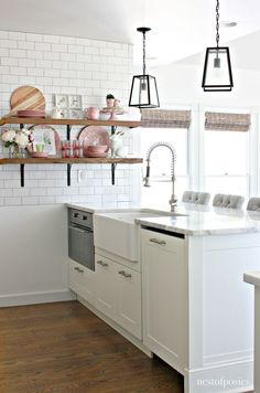Open shelving in the kitchen. Farmhouse Style