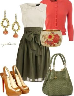 OMGoodness! I love this!! Olive green and cream dress with coral sweater and adorable high heel pumps.