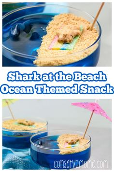 Looking for a cute beach themed or Fun Shark Themed dessert idea? Then look no further. This fun and whimsical Shark at the Beach Kids Snack is the perfect addition for any party, event or even a shark week celebration. Read on to see how easy this fun shark themed snack idea is to make. Low Fat Desserts, Unique Desserts, Fun Desserts, Delicious Desserts, Dessert Ideas, Shark Snacks, Beach Snacks, Healthy Cheesecake, Healthy Dessert Recipes