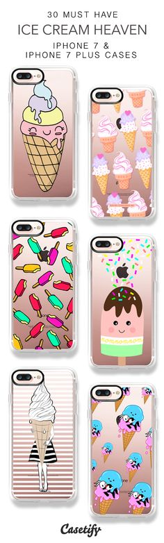30 Must Have Ice Cream Heaven iPhone 7 Cases and iPhone 7 Plus Cases. More Food iPhone case here > https://www.casetify.com/collections/top_100_designs#/?vc=a3lmwrM49w