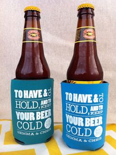 100 Custom Wedding Koozies - To Have and to Hold and to Keep your Beer Cold. $134.00, via Etsy.