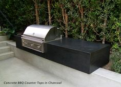 Outdoor concrete countertop featured in charcoal, a great color for a contemporary palette.  Ernsdorf Design Los Angeles, CA