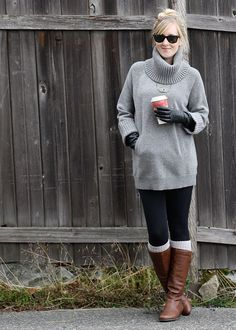 Sweater, boots, leg warmers. This whole outfit is so cozy!