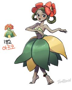 Pokemon Gijinka  182.  Bellossom  >>see   Oddish and Gloom Gijinkas