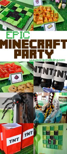 "This epic Minecraft birthday party is full of ideas for a party for any Minecraft fan! Activities from BINGO to ""battling"" are shared, plus decor and food ideas galore! #minecraft #party #minecraftparty"