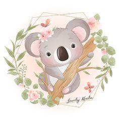 Cute doodle koala bear with floral illus... | Premium Vector #Freepik #vector Illustration Blume, Balloon Illustration, Watercolor Illustration, Baby Koala, Doodles Bonitos, Watercolor Flower Background, Flower Watercolor, Baby Animals, Pintura