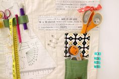 "Make the ""Let's Sew Something Organizer"" project  with Steam-A-Seam, learn how to stitch with the zigzag stitch and how to quilt with the seam guide. This project is fun to hang in your sewing area to keep all your sewing supplies tidy and in order."