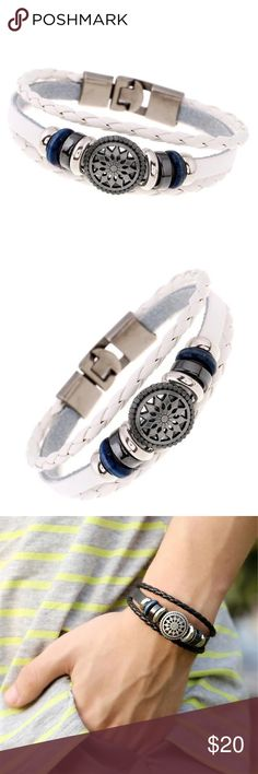 ⛵️White Braided Leather Compass Nautical Bracelet Nautical Flare White Leather Unisex Bracelet with silver Zinc Alloy findings and clasp and compass center.                                                        ‼️PRICE FIRM ON BOUTIQUE ITEMS UNLESS BUNDLED FOR 10% DISCOUNT‼️ Jewelry Bracelets