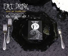 Ideas and decorations for Nightmare Before Christmas themed wedding, ceremony, and reception.