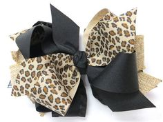 Cheetah Burlap Hair Bow from www.PinkBowtique.com