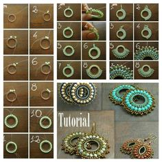 Square stitch around a ring earring tutorial and pattern. How to make diy bead jewellery Bead Jewellery, Seed Bead Jewelry, Jewelry Findings, Diamond Jewelry, Beaded Earrings Patterns, Beading Patterns, Jewelry Crafts, Handmade Jewelry, Jewelry Ideas