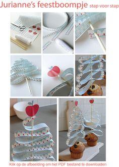 Papieren kerstboom voor cakejes door Jurianne Matter. Gratis printable.