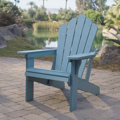 Ordinaire Outdoor Belham Living Seacrest Cottage All Weather Resin Adirondack Chair    Capri Blue   6060230