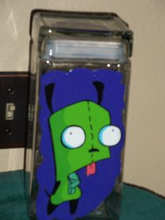 Gir from Invader Zim Candy Jar painted by Fawn