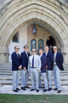 Groom in full suit and groomsmen just in pants (with their own blazers)