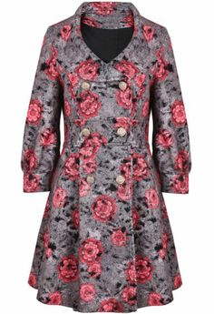 Grey Red Lapel Long Sleeve Floral Ruffle Coat pictures