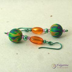 Rainbow bead earrings by Cate van Alphen