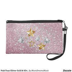 #PinkFauxGlitter #GoldAndSilver #StarsAndHearts #FashionWristlet by #MoonDreamsMusic #NewYearsEveStyle