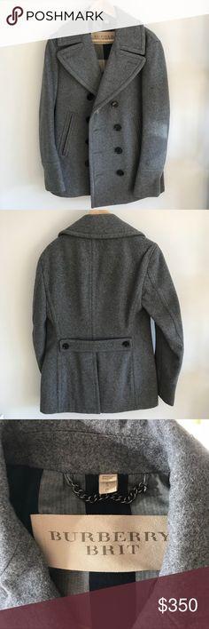 Burberry men's grey Peacoat Burberry Brit men's Peacoat in grey size Small Burberry Jackets & Coats Pea Coats