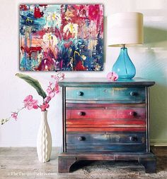 love the colors My Valentine painted furniture - painted dresser #ad