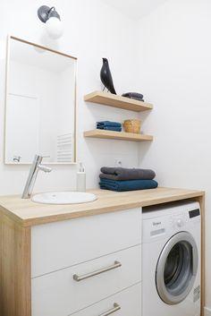 Laundry Room Bathroom, Tiny House Bathroom, Small Bathroom, Bathroom Organization, Bathroom Interior, Home Deco, Washing Machine, Kitchen Design, Sweet Home