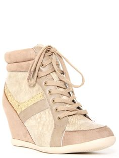#Glitter Sneaker #Wedges in Taupe