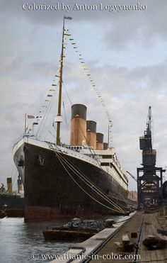 Titanic dressed in flags for Good Friday at Southampton, April 5, 1912