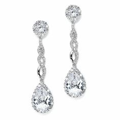 Opulent Cubic Zirconia CZ Wedding Earrings - lots of sparkle here! affordableelegancebridal.com