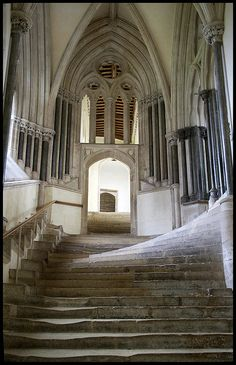 Wells Cathedral, chapter house steps. Often spotted in movie shots. (Robin of Sherwood, for starters. Robin runs along a wall-walk in Alnwick castle, dashes through a door... and is suddenly on these steps. Neat trick! Medieval magic portals?
