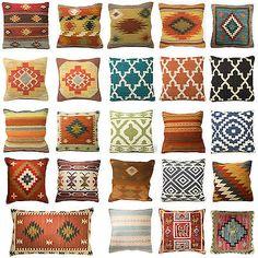 Kilim Cushion Cover Indian Handwoven Wool Cotton Sofa Home Decor Floor Design