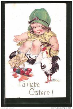 CPA Illustrateur Arthur Butcher: Fröhliche Ostern!, Fille Avec Kaputten Eiern Et Hahn