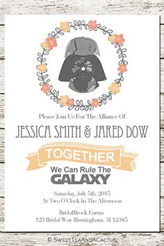 Star Wars Wedding Invitation Printable by SweetTeaAndACactus on Etsy | 10 Star Wars Wedding Ideas for Super Fans